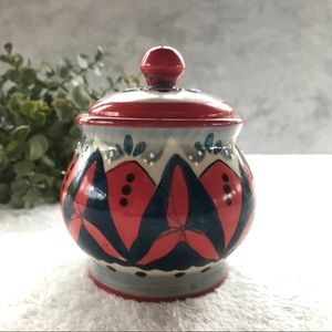 Anthro Hand Painted Ceramic Canister